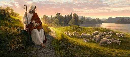 LDS art panoramic painting of Jesus sitting on a hill above a flock, holding a lamb on his lap.