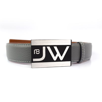 Custom Golf Belt with Initials and Premium Gray Leather Belt