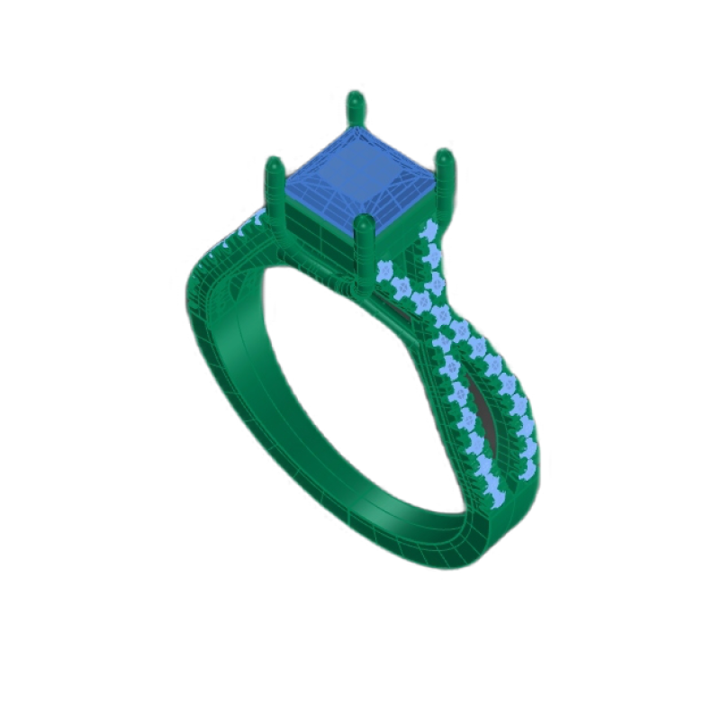 Cad file of a twist diamond engagement ring