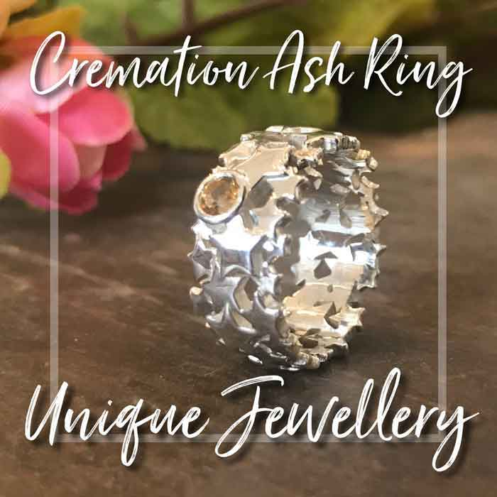 cremation ash star ring with citrine