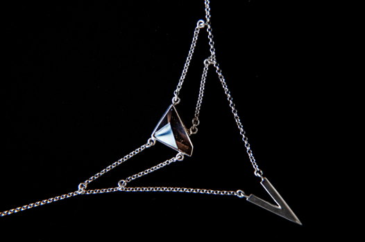 Многоуровневая серебряная подвеска V с кристаллом раухтопаза
