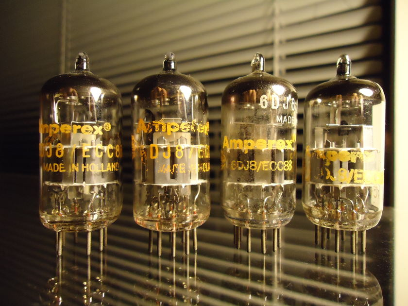 AMPEREX ECC88/6DJ8 QUAD OF 4 X GOLDEN GLOBE DIMPLE GETTERS MADE IN HOLLAND FREE WORLD WIDE AIRMAIL SHIPPING