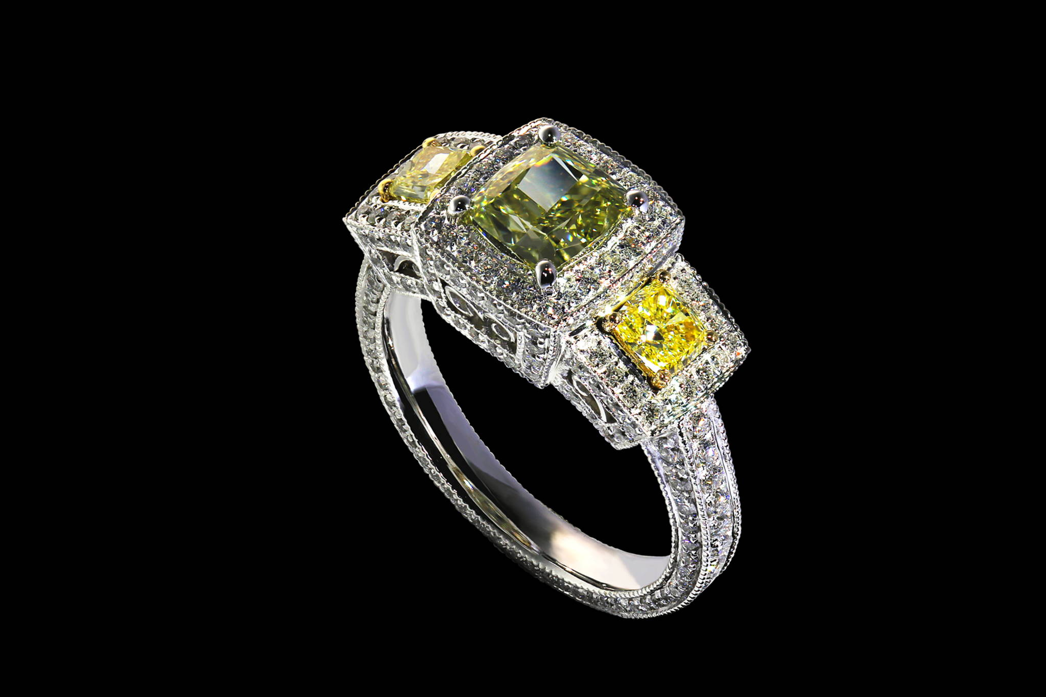 Highly Detailed Natural Colored Diamond Ring 45 degrees view