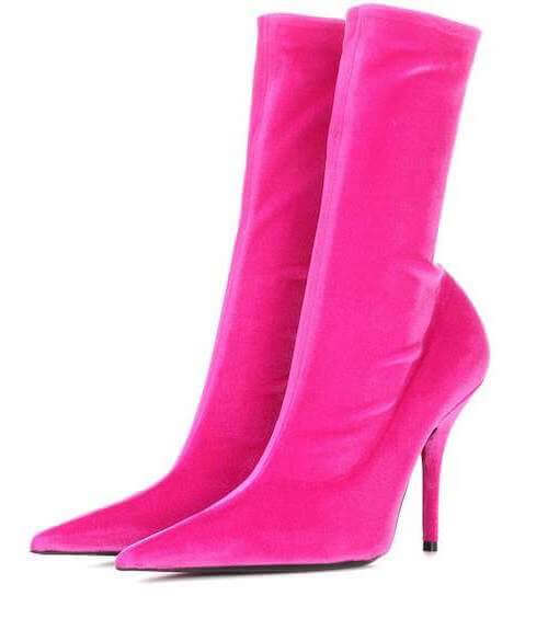 Balenciaga Velvet Sock Ankle Boots in Hot Pink