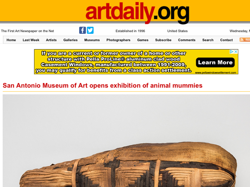 Art Daily, Animal Mummies