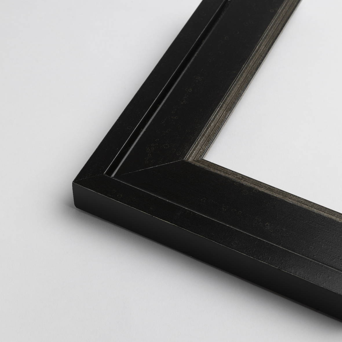 TV-Mirror Flat Black Industrial Frame with Silver Edge by FRAMING TO A T