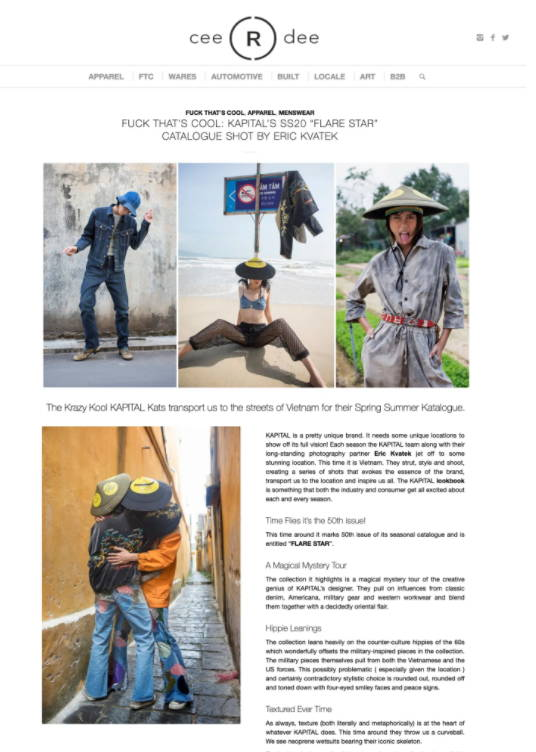 "FUCK THAT'S COOL: KAPITAL'S SS20 ""FLARE STAR"" CATALOGUE SHOT BY ERIC KVATEK Article"