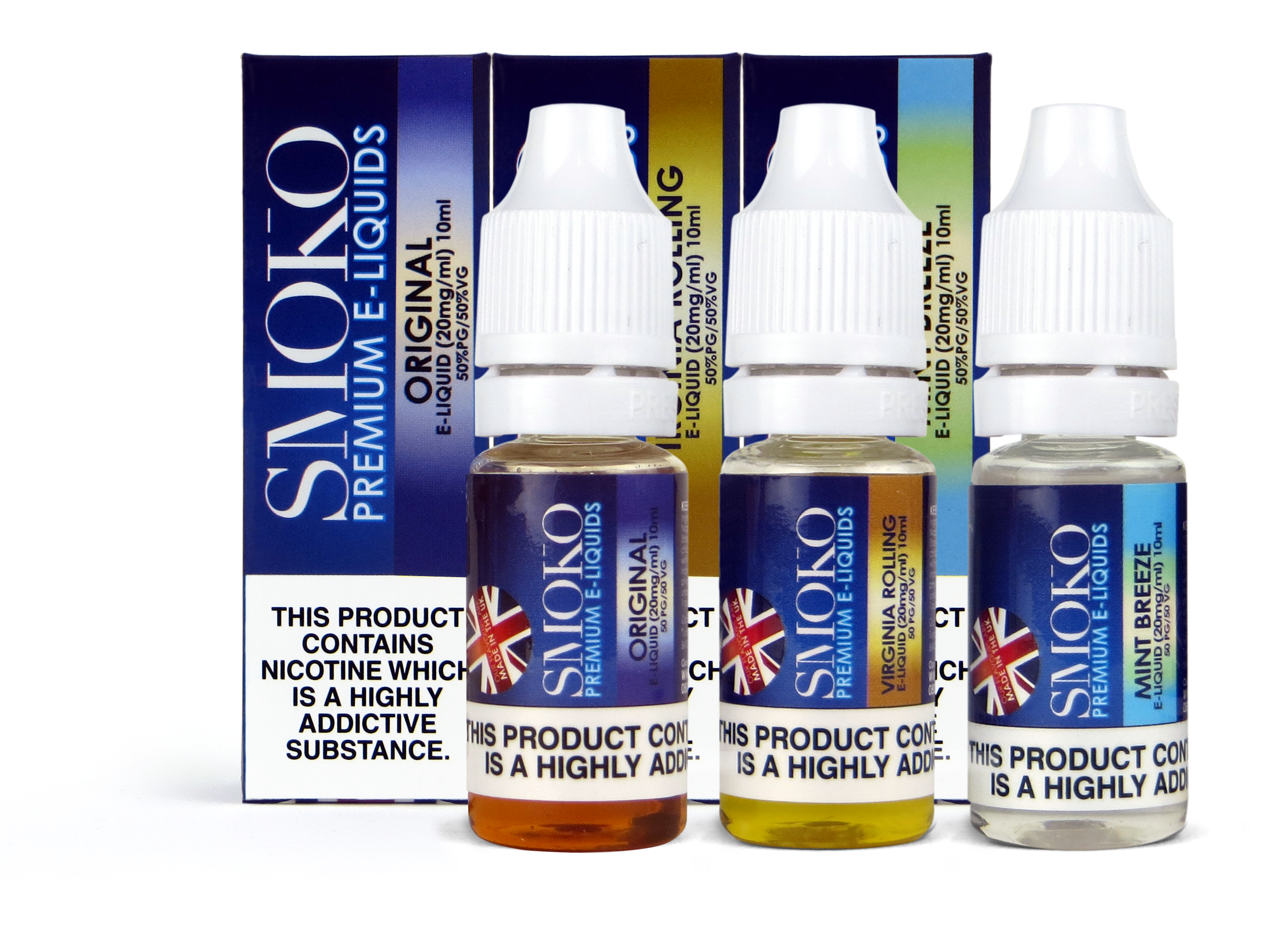 SMOKO's range of E-Liquids are all Made in the UK and are the same liquids  we use in the rest of our SMOKO E-Cigarette and VAPE Refills.