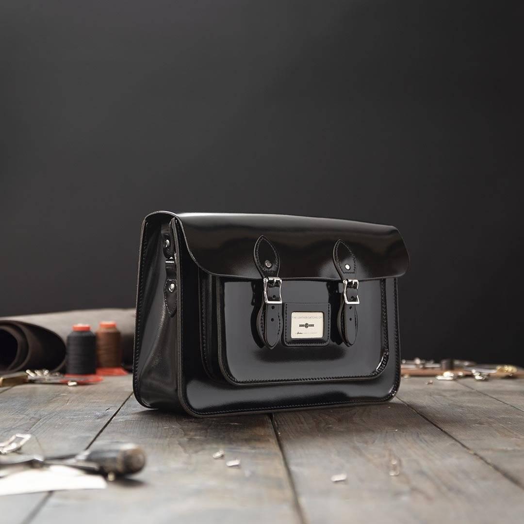 Black 15 inch Leather Satchel
