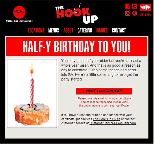 restaurant email marketing example half birthday email