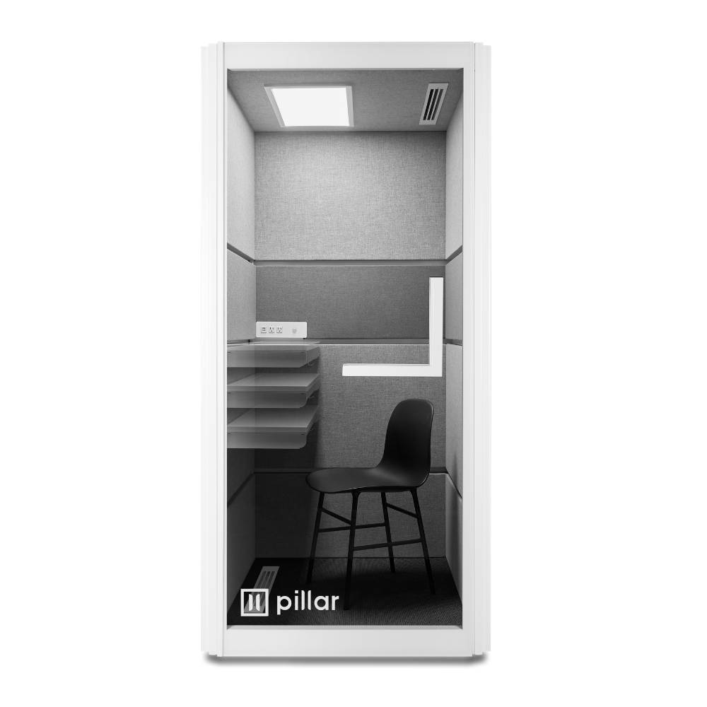 pillar booth adjustable desk