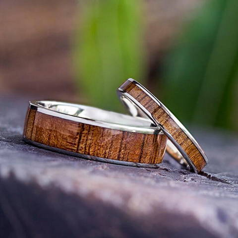 wooden wedding rings koa wood white gold set