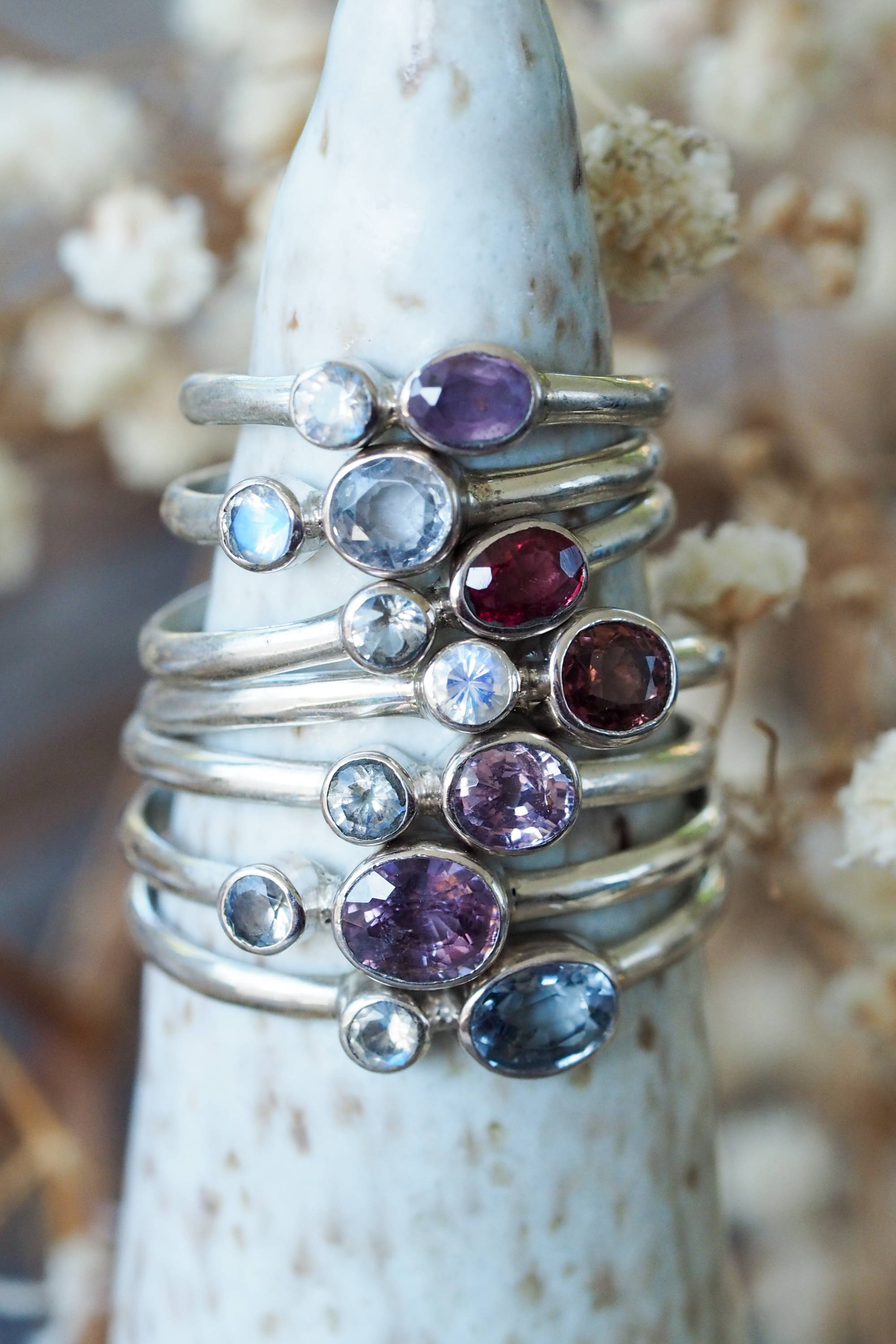 Spinel and Moonstone Ring in Silver