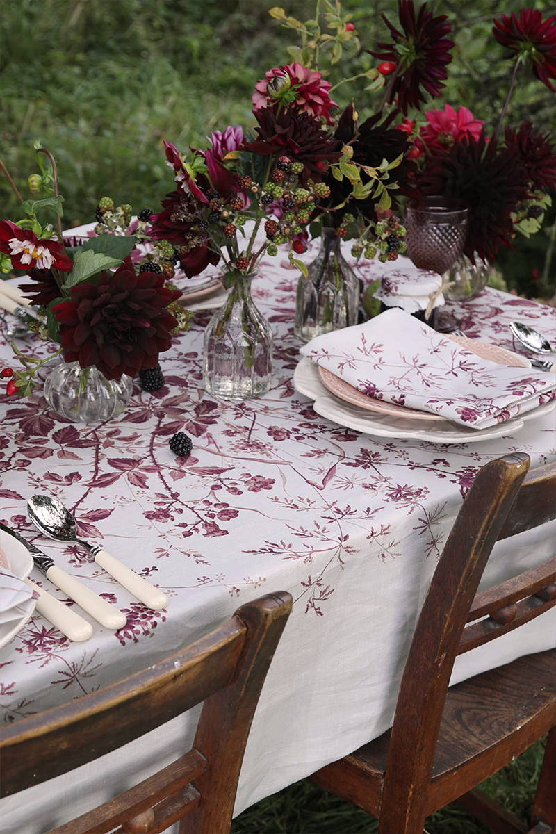Close up of YOLKE's new Homeware Collection, the Blackberry Print