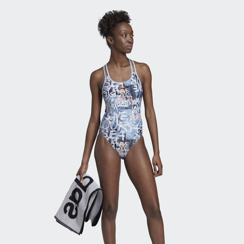 Adidas Parley patterned blue swimsuit econyl