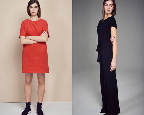 Woman wears organic cotton tunic dress in coral red with black sock trainers and woman wears tencel black jumpsuit both from sustainable fashion brand Jann 'n June