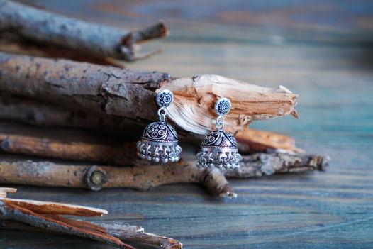 Серебряные серьги - джумки