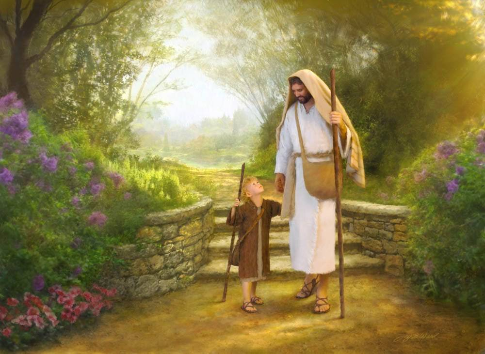 Jesus Christ walking down a path with a little boy holding a staff.