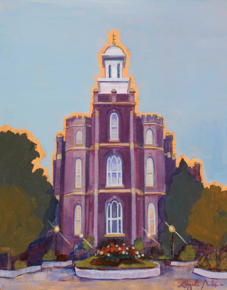 Vertical painting of Logan Utah LDS Temple after rainfall.