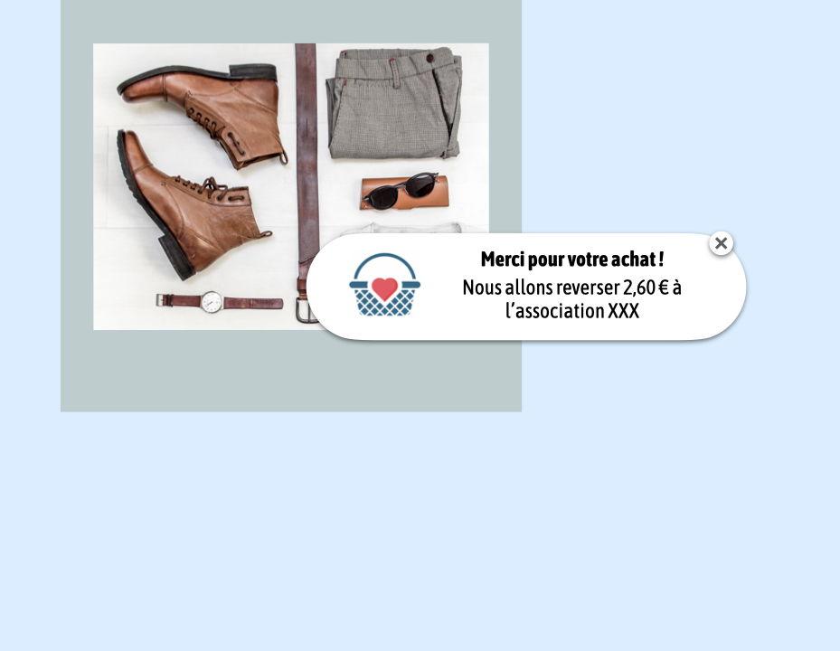 Shopping solidaire : reversement d'un don au profit de l'association du choix du consommateur