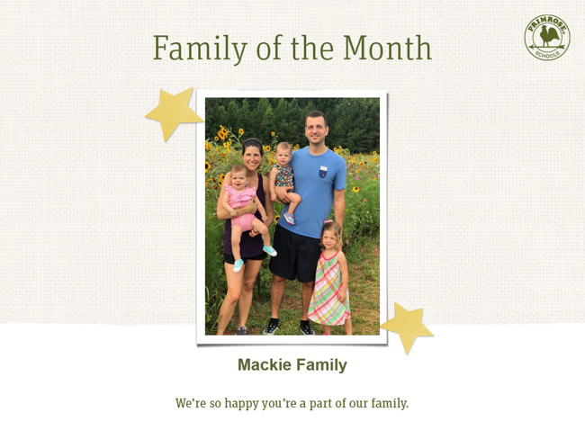 family of the month, family appreciation