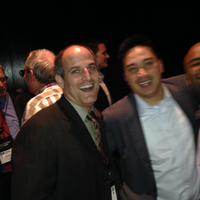 Brian Shenson and Khoi Bui of Schwab at Black Diamond party.