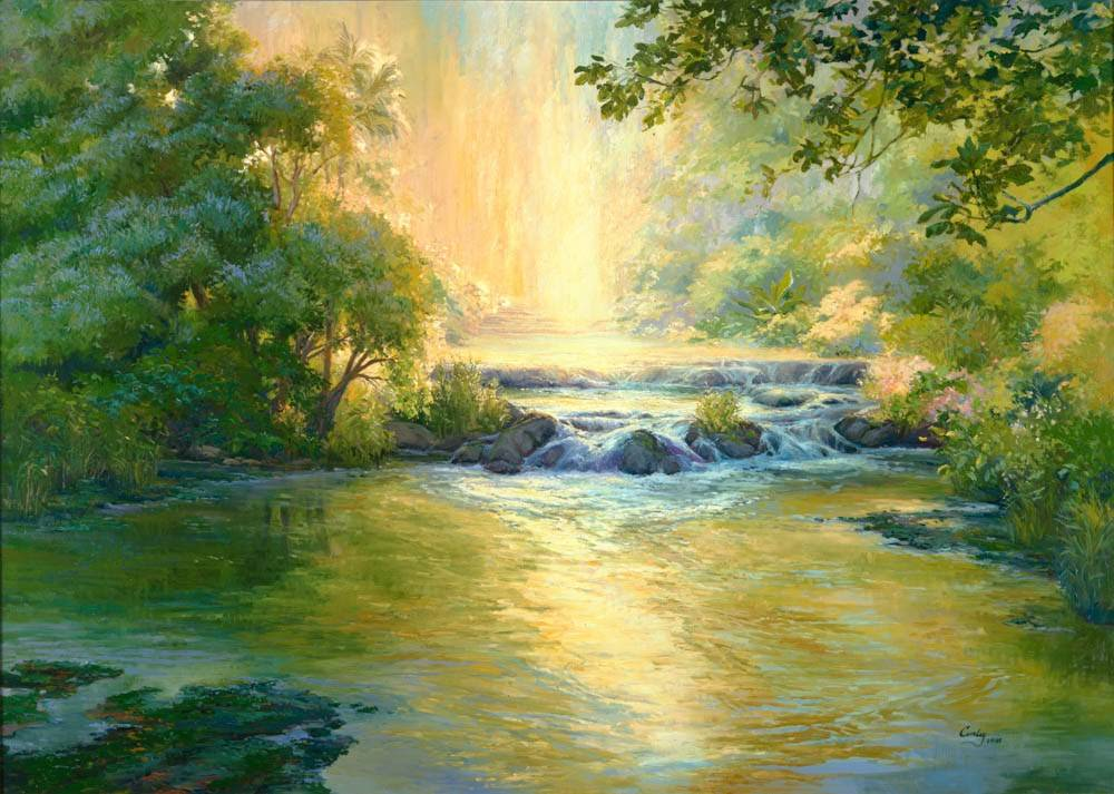 LDS art painting of a peaceful river setting.