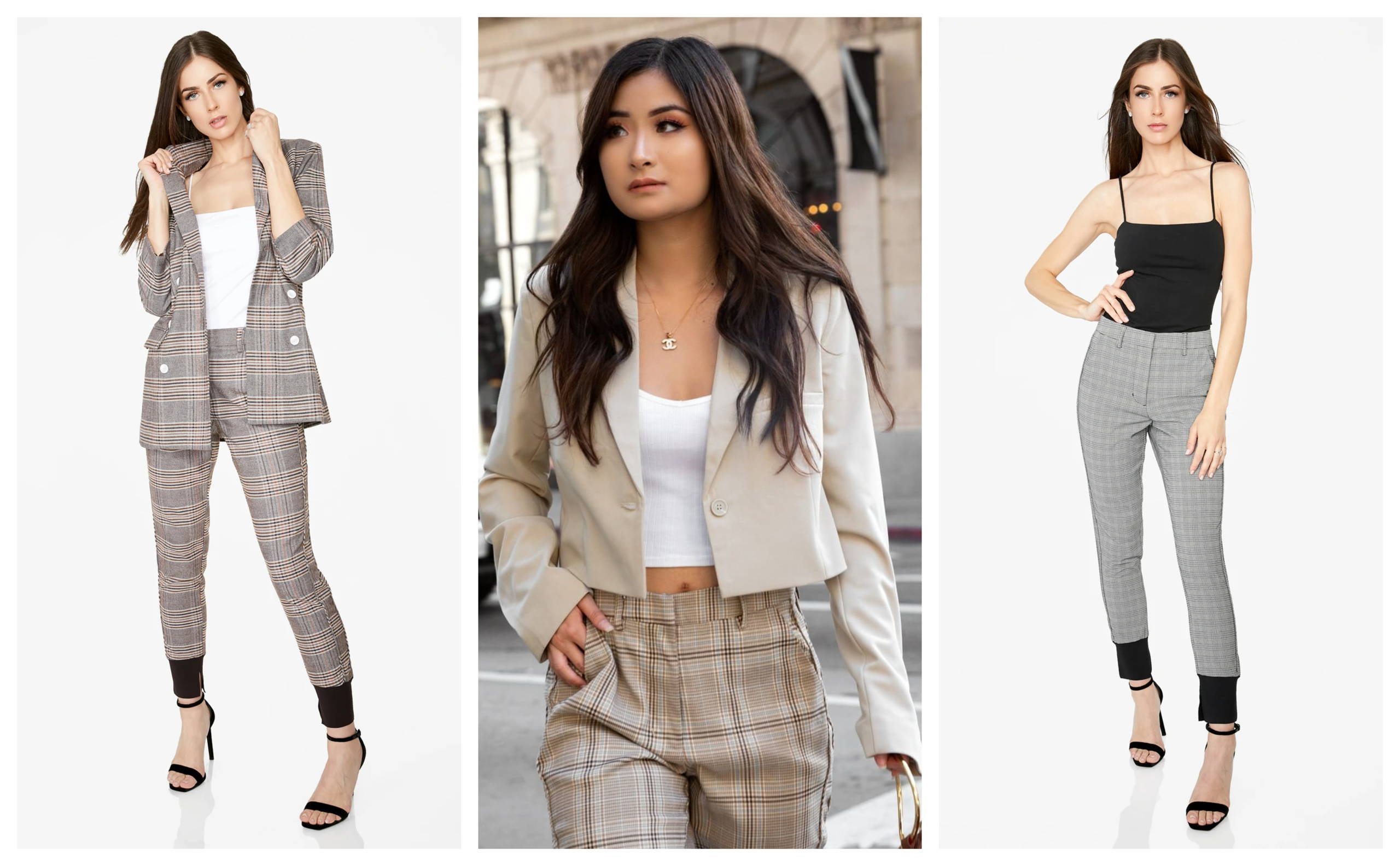 High-Waisted Jogger in Plaid_Houndstooth