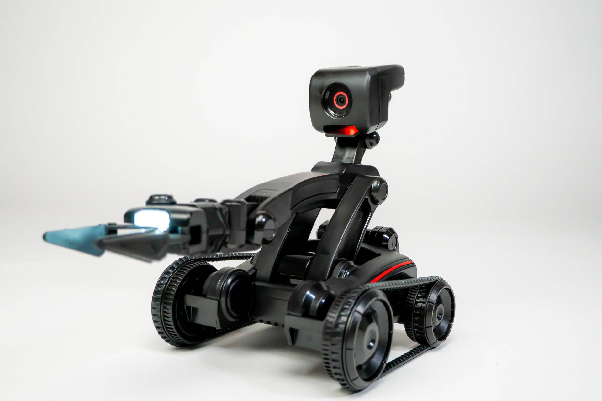 Nabot AI posing with arm open and LED on