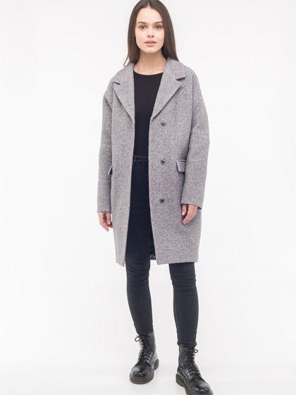 Зимнее утеплённое пальто-кокон серого цвета из вареной шерсти