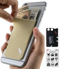 phone wallet Beige with White logo by gecko travel tech