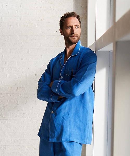 Budd Shirtmakers SS21 Campaign Linen Pyjamas