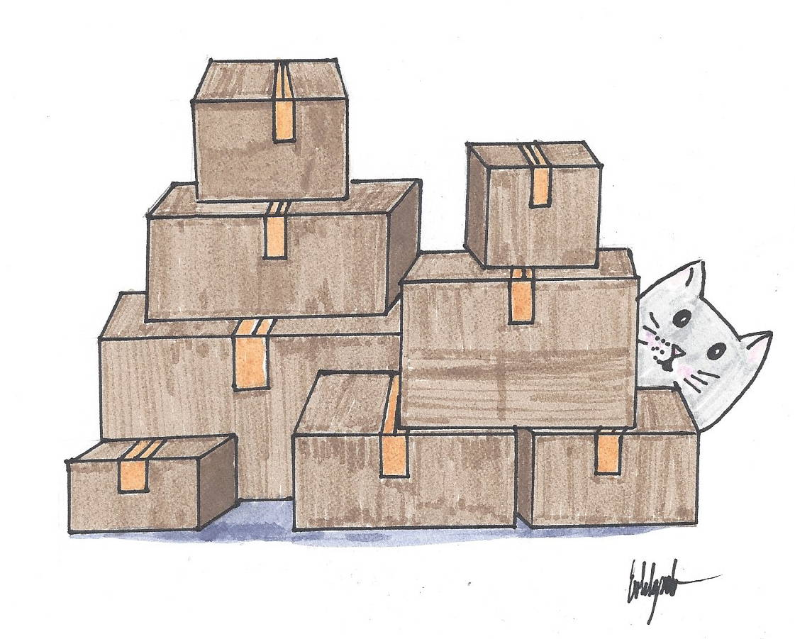 drawing cat hiding behind pile of boxes