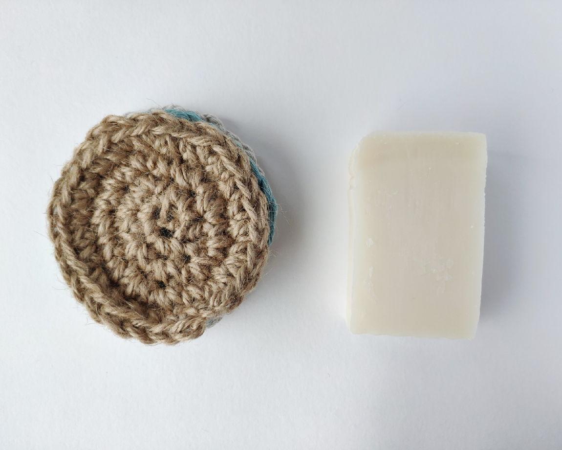 Набор натуральных мочалок для мытья посуды 4 шт (хлопок и джут)