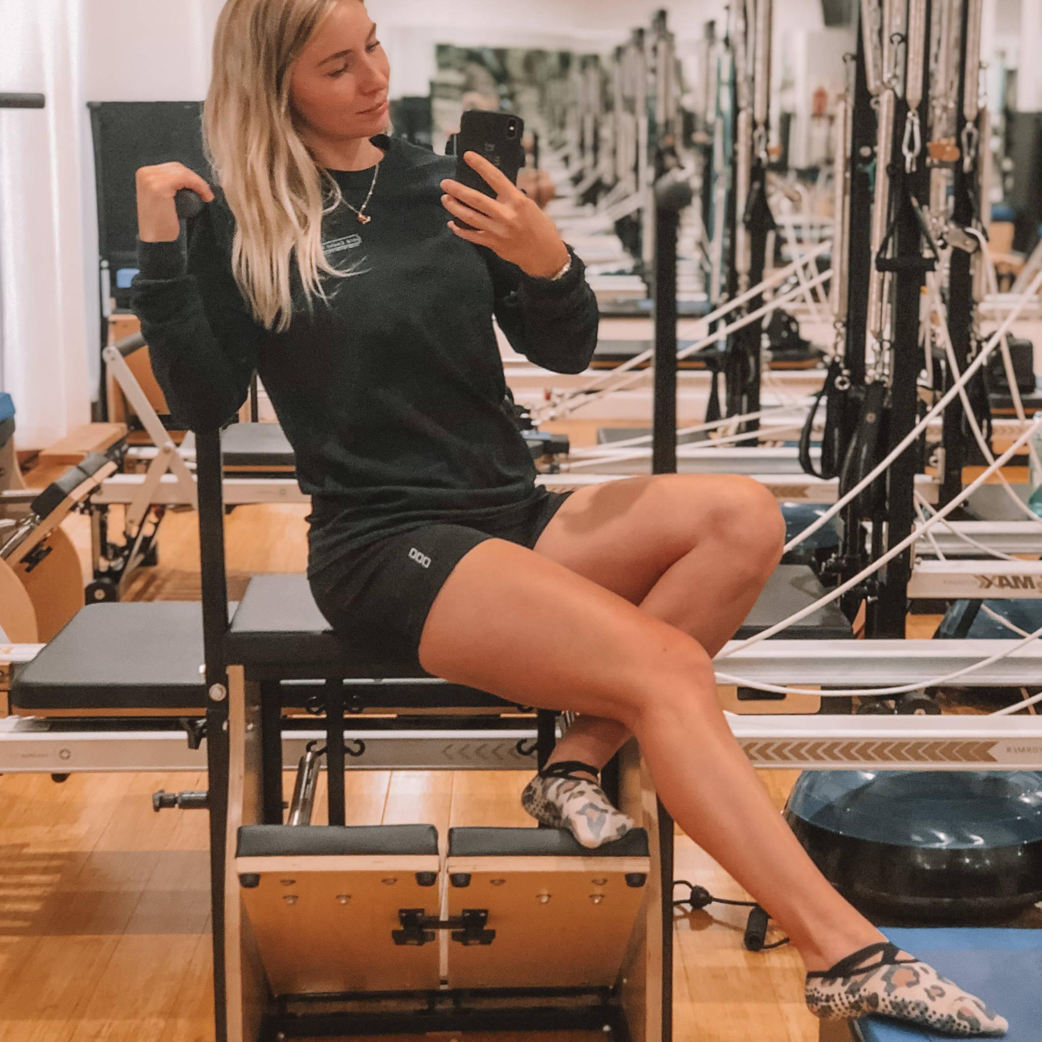 Emma wearing Wild at Heart Non-Slip Grip Socks