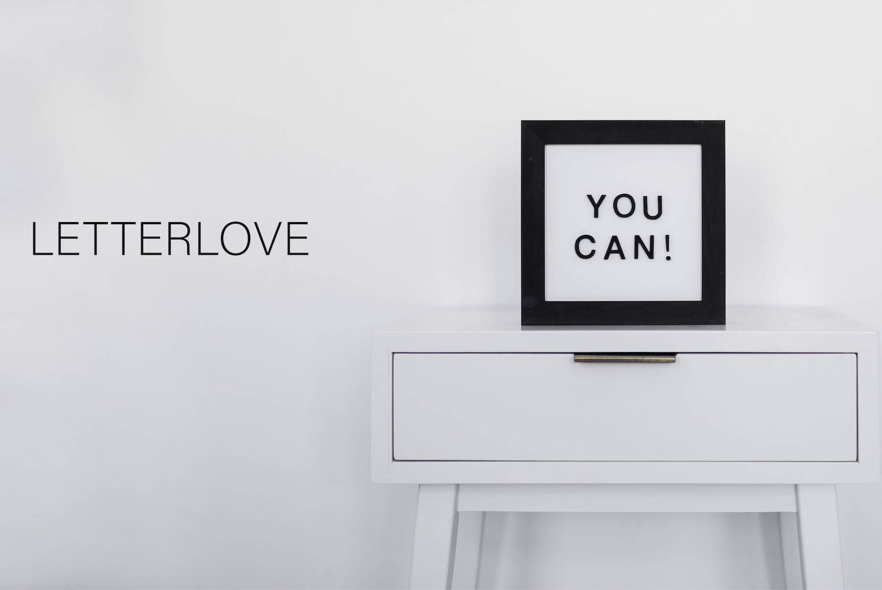 letter board home decor on a table