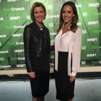 Sallie Krawcheck continues to harness feminine sizzle, in this instance with Jessica Alba at Tech Crunch confab.