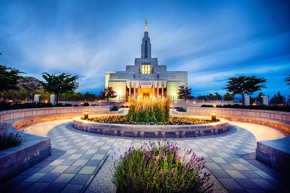 Photo of Draper Utah LDS Temple at early sunrise.