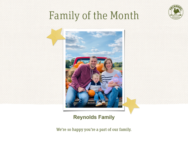 Primrose family of month - January- parent appreciation
