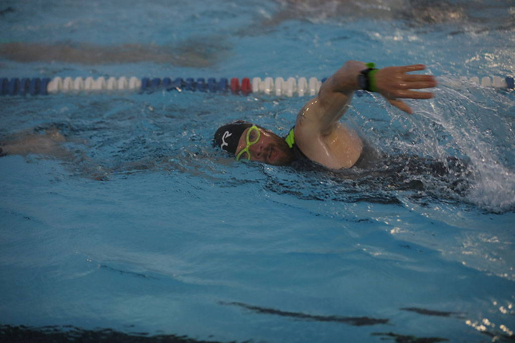 James swimming