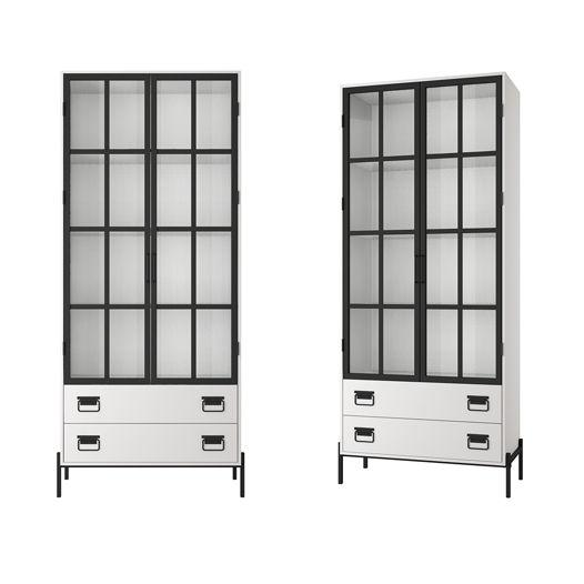 ЛОФТ Шкаф книжный со стеклянными дверьми, белый