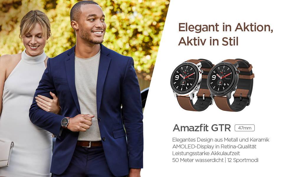 Amazfit GTR 47 mm - Elegantes Design aus Metall und Keramik | AMOLED-Display in Retina-Qualität  Leistungsstarke Akkulaufzeit | 50 Meter wasserdicht | 12 Sportmodi
