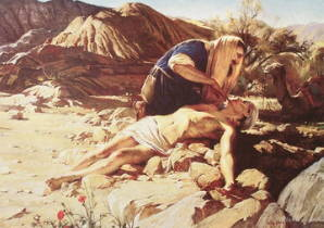LDS art painting of the Good Smaritan helping a starved looking man.