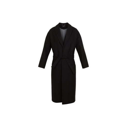 Черное пальто с воротником «шаль»