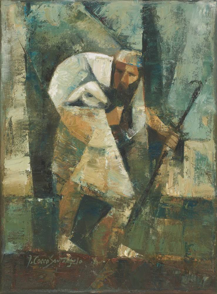 Abstact painting of a shepherd hunched over with a sheep on shoulders.