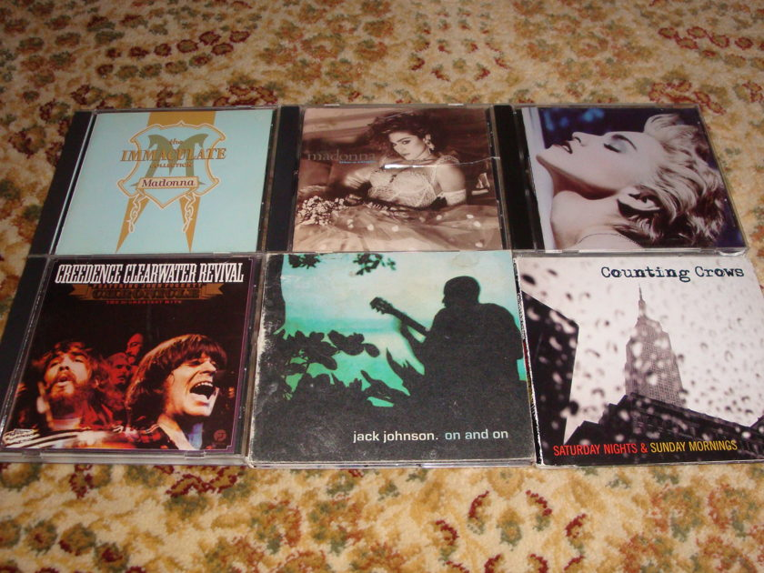 CD Collection (6) MADONNA - JACK JOHNSON CREEDENCE CLEARWATER REVIVAL COUNTING CROWS FREE SHIPPING