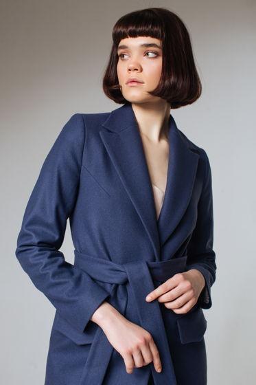Пальто дизайнерское длинное синее