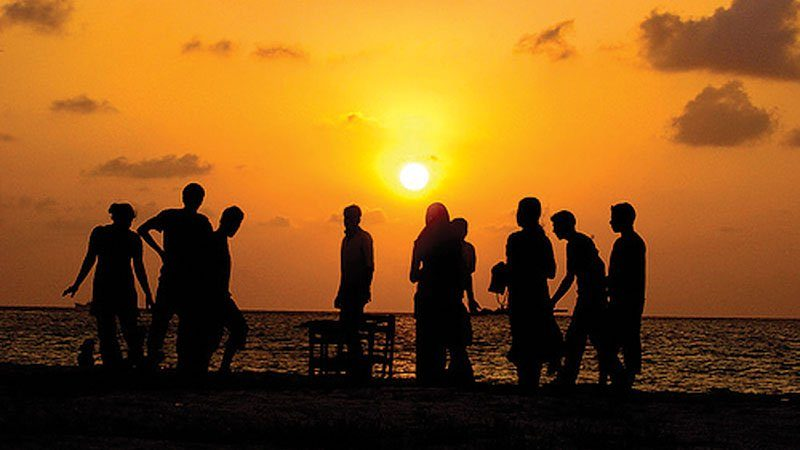 Sunset beach party, Maldives
