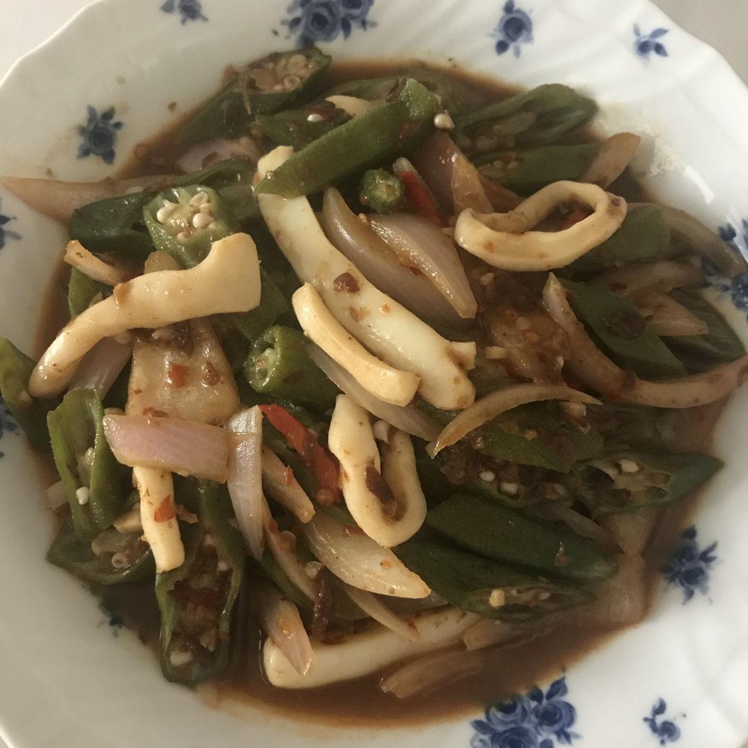 Sambal belacan squid, okra and onions 🧅 🙏🏻